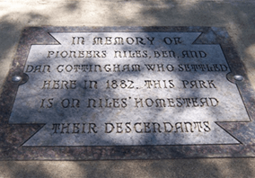 Memorial plaque at Cottingham Park Campground